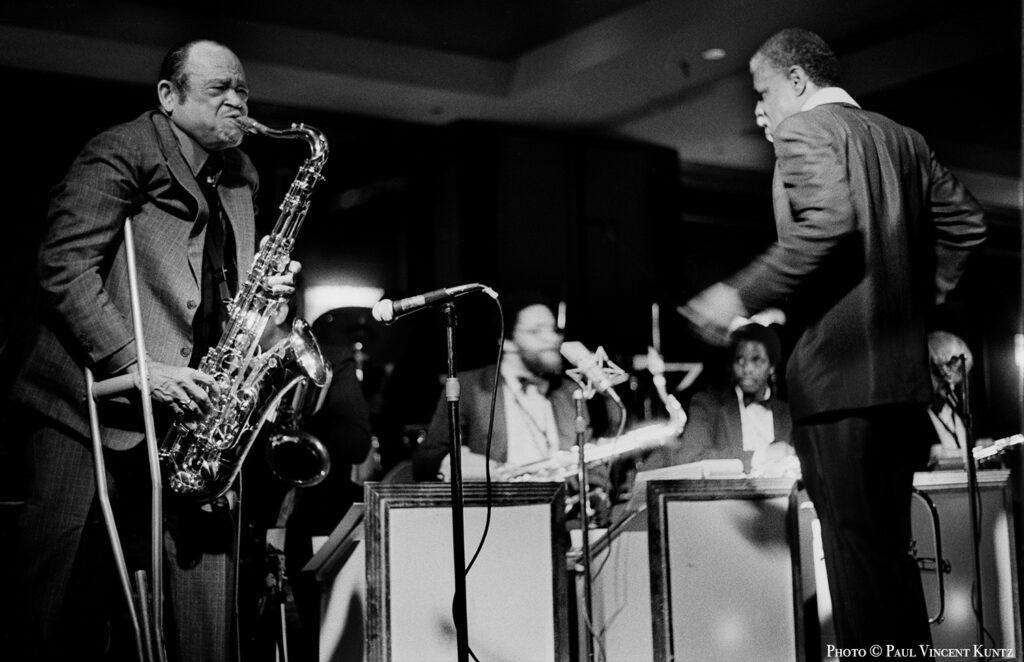 Arnett Cobb performs with Calvin Owens orchestra Shamrock-Hilton-Hotel Houston TX 1986